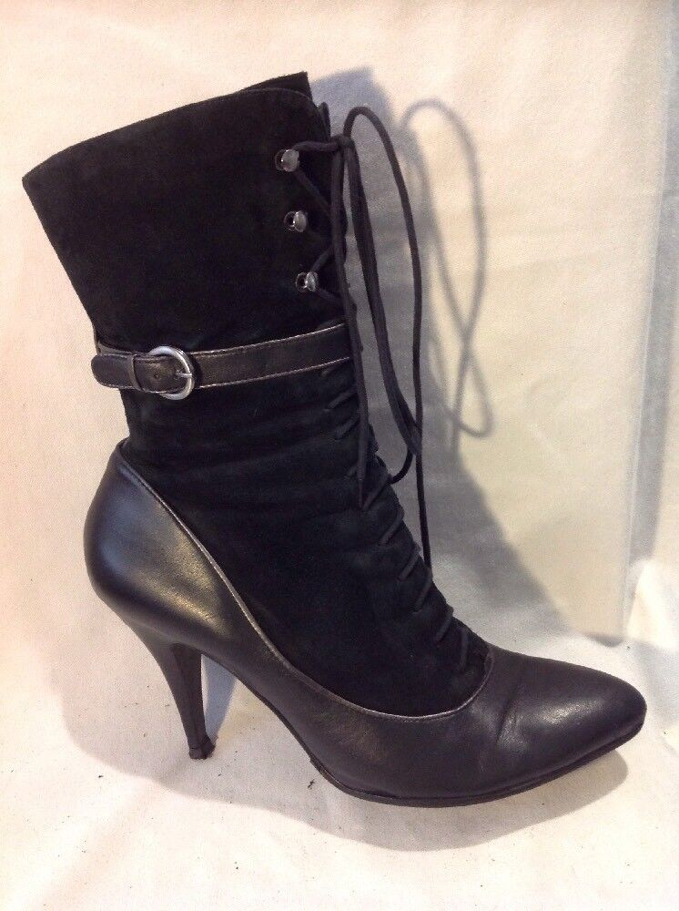 Dune Black Mid Calf Leather Boots Size 41