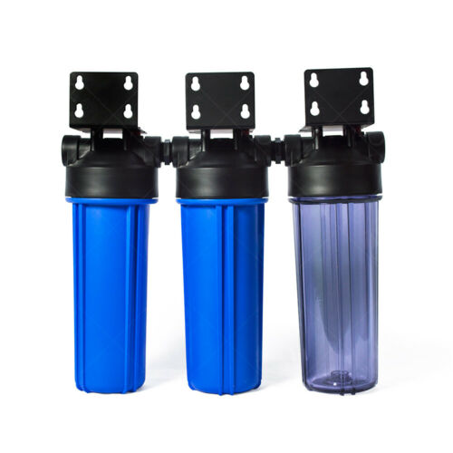 Three Stage Whole House Water Filtration Housing Kit 3//4in Ports Heavy Duty