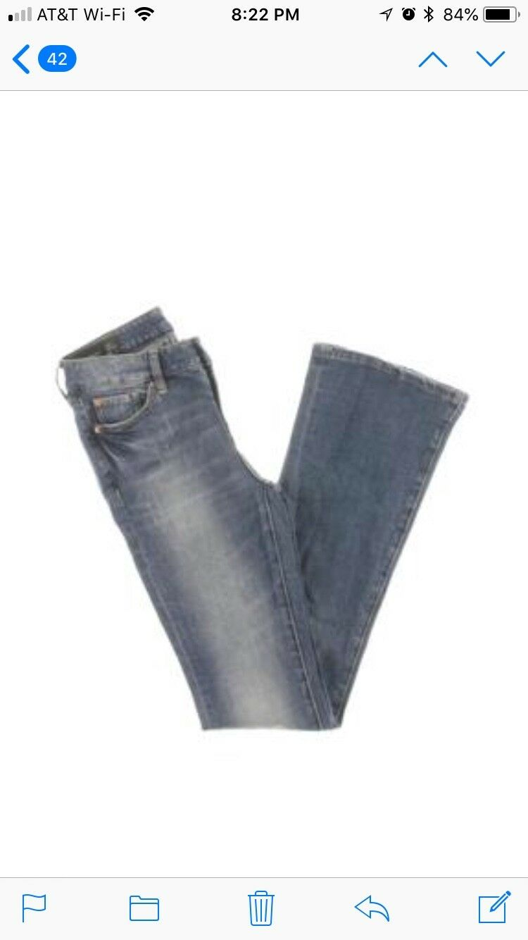 Armani Exchange Womens Distressed Low Rise Flare Jeans