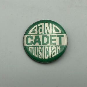 Vintage Band Cadet Musician Button Pin Pinback Green + White M7