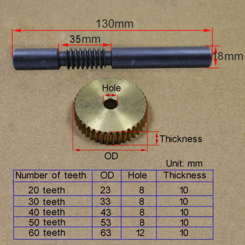 For Drive Gearbox Replacement Parts Teeth Brass Worm Gear and Steel Shaft set