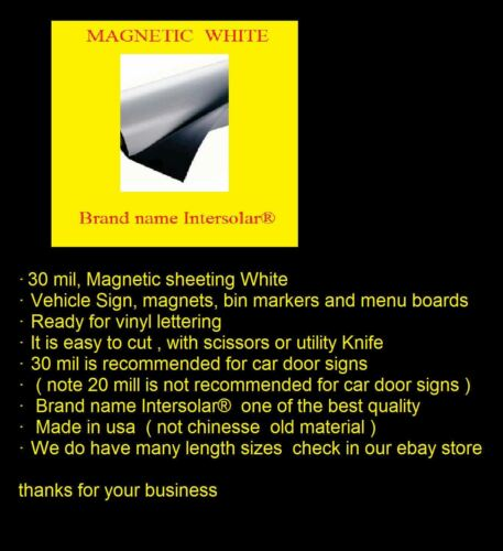 "12/"" x 60/"" roll flexible White Magnetic Car Vehicle advertising sheet sign vinyl"