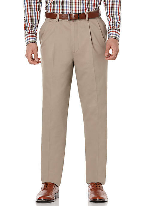 NWT - SAVANE Men's PLEATED ULTIMATE PERFORMANCE Mid Khaki STRAIGHT PANT 36 x 34