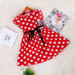 BNWT-Girls-Baby-Kids-Minnie-Mouse-Print-Polka-Dot-Party-Dress-Summer-Gift-Mini