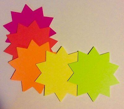 "3/""H x 3/""W Round 2500 Fluorescent Starburst Price Neon Retail Tags Cards Signs"