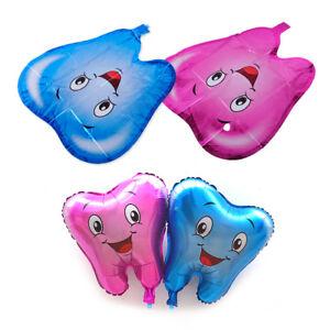 2X-Suesse-Folienballon-Aluminiumfolie-Ballon-Cartoon-Smiley-Balloon-Zahn-Dental