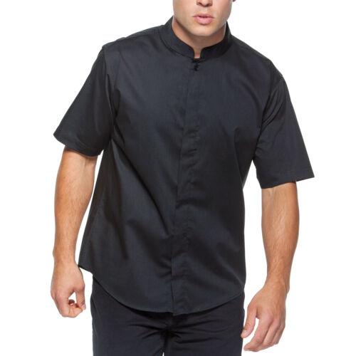Da Uomo BAR CAMERIERE Oriental Mandarino Colletto RISTORANTE Uniforme Manica Corta Camicia