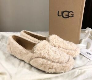 2840657b726 Details about UGG HAILEY 1095108 NATURAL FLUFF LOAFER WOMAN'S SLIPPERS SZ  10 AUTHENTIC NEW**