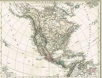 Karte von NORD-AMERIKA / MITTELAMERIKA, Original-Kupferstich 1876