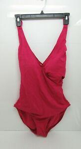 Women-039-s-Tropical-Escape-V-Neck-One-Piece-Swimsuit-Vivacious-Pink-Size-16