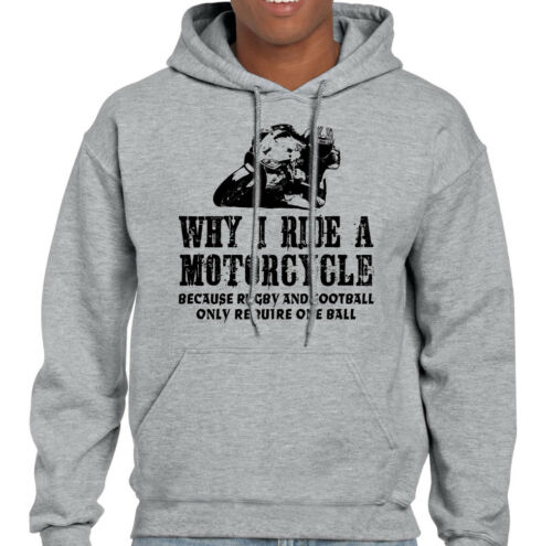 Why I Ride A MOTORCYCLE Mens Funny Motorbike Hoodie Biker Yamaha Bike Kawasaki