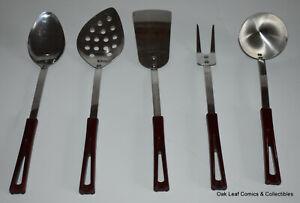 Set of 5 Stanley Stanhome Kitchen Cooking Utensils Stainless Bakelite USA