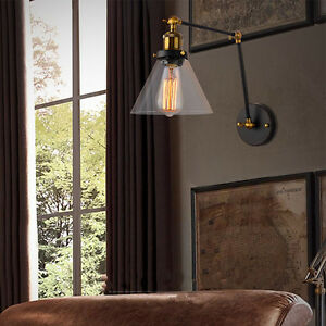 Details About Swing Arm Wall Lights Kitchen Lamp Bedroom Gl Sconce Home Lighting