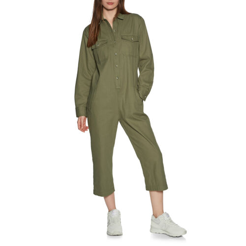 Brixton Melbourne Crop Overall Womens Skirt//dress Jumpsuit Washed Olive