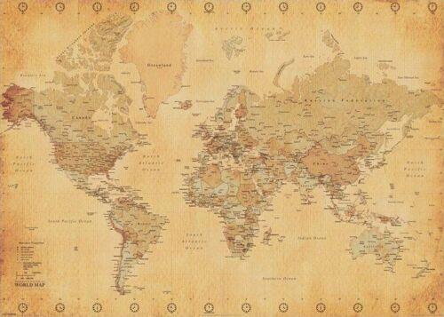 Size 24x36 World Map Vintage Style Print