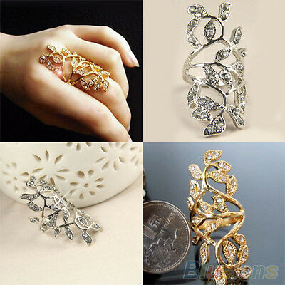 Women's Fabulous Rhinestone Hollow Leaf Joint Armor Knuckle Crystal Ring 7#