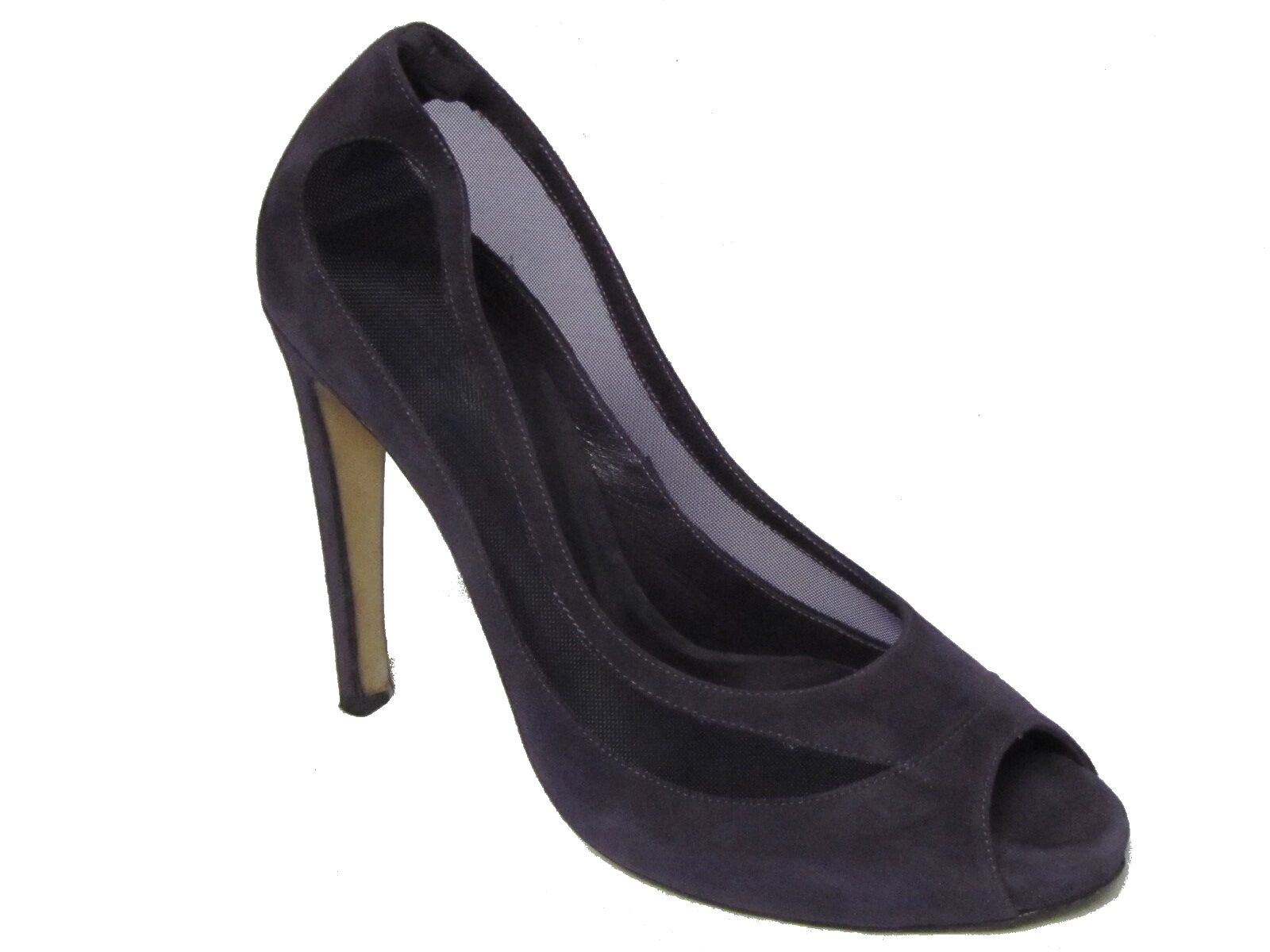 TANIA SPINELLI Italy Purple Peep Suede Leather Mesh Netting Peep Purple Toe Pumps Shoes 39 9 b85b75