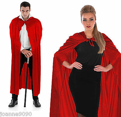 Mens Womens Long Red Velour Hooded Cape Cloak Riding Hood Fancy Dress Costume BN