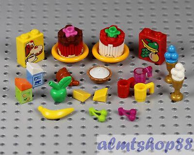Food Cake Ice Cream Minifigure Castle LEGO 21 pcs Lot Dessert /& Fruit Combo