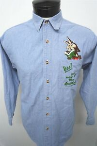 Warner-Bros-Looney-Tunes-Wile-E-Coyote-blue-denim-shirt-sz-S-mens-L-S-390