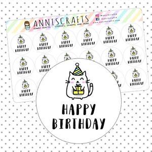 Image Is Loading Kawaii Cat Happy Birthday Stickers Goodie Bag