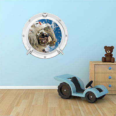 ASTRONAUT EARTH SPACESHIP SPACE PORTHOLE Full Colour Wall Sticker Decal Transfer