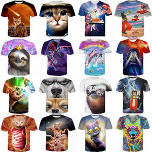 3D-T-Shirt-Cute-Animal-Cat-Dolphin-Sloth-Print-Men-Women-Casual-Short-Sleeve-Tee
