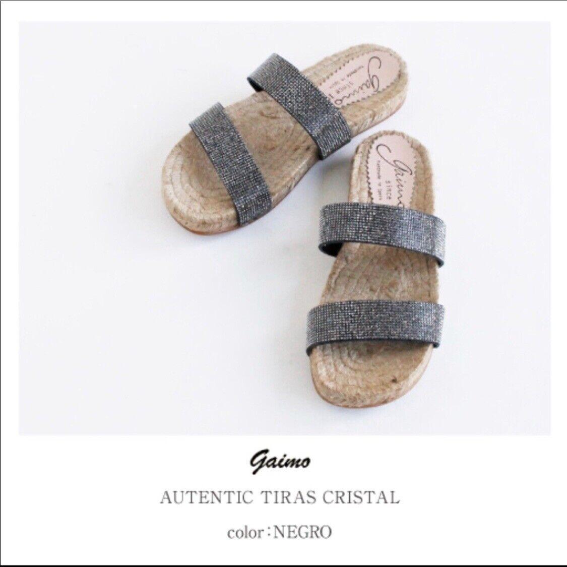 GAIMO ESPADRILLES Espagne Noir Tiras cristaux Plateforme Sandales  133 New in Box Taille 9 39