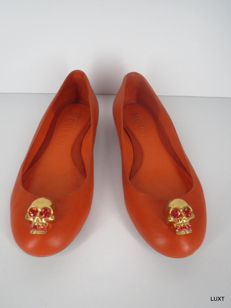 Alexander Alexander Alexander McQueen Ballet Zapatos sin Taco Sin naranja de cuero Rhinestone Cráneo Tamaño 5 35  549  descuentos y mas
