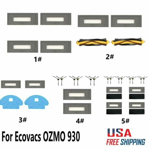 For Ecovacs OZMO 930 Robotic Replacement Parts Side Brush//Filter//Rag Sets