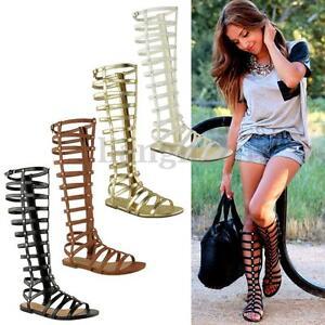Womens-Summer-Gladiator-Roman-Zipper-Knee-High-Flat-T-Strap-Sandals-Boots-Shoes