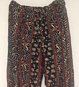 Women-039-s-HIPPIE-Drawstring-Loose-FITTING-CASUAL-Pants-RETRO-RAYON-USA
