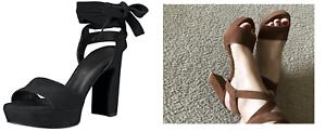 Nuevo En Caja Stuart Weitzman backtie Plataforma Sandalia 7 Negro Gamuza grueso talón