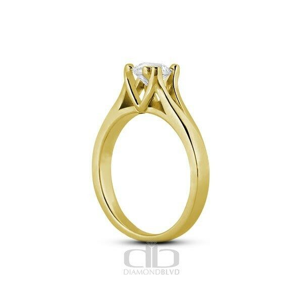 0.34ct I SI3 Ex Round AGI Earth Mined Diamond 18K Cathedral Solitaire Ring 2.78g