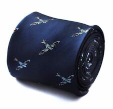 Navy Mens Tie with embroidered Spitfire Plane Print by Frederick Thomas FT663