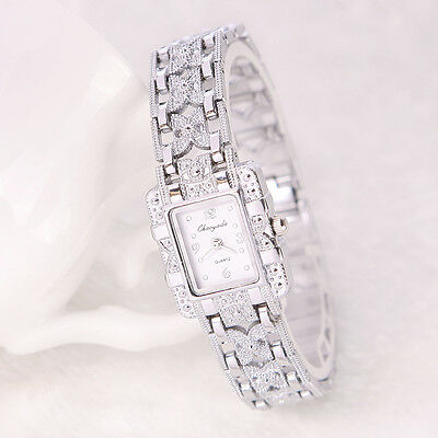 Fashion Women's Bracelet Watch Stainless Steel Silver Crystal Dial Quartz Watch