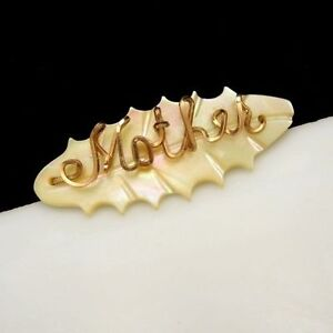 Vintage-Brooch-Pin-Carved-Mother-of-Pearl-MOP-Oval-Metal-034-Mother-034