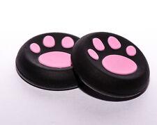 2 x PS4 XBox Gummi Kappen Controller Caps Thumbstick Katze Pfote Schwarz - Pink