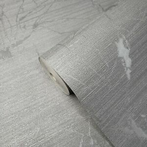 Industrial-silver-gray-metallic-Textured-Plain-Modern-Wallpaper-rolls-faux-metal