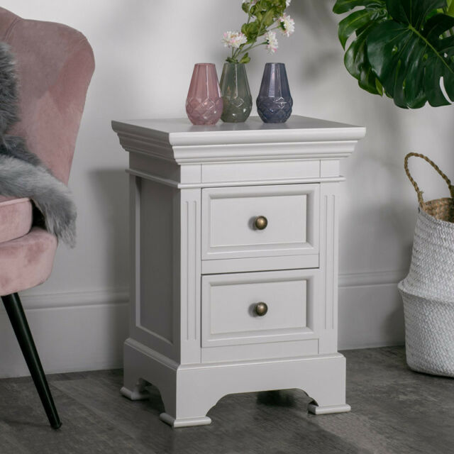 Grey Painted Wooden 2 Drawer Bedside Chest Table Vintage Chic Bedroom Furniture