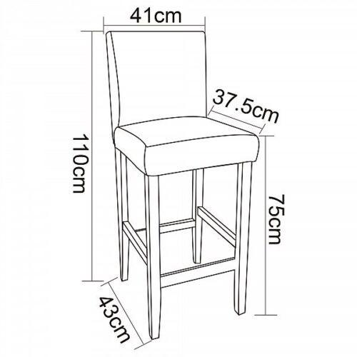Barhocker Tresenstuhl 4er Set Barstühle mit Lehne Massivholz Grau BH21gr-4
