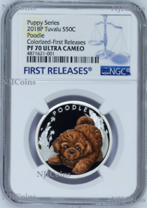 2018 Puppies Poodle Tuvalu PROOF Silver NGC PF 70 1//2oz Coin Lunar Year DOG FR
