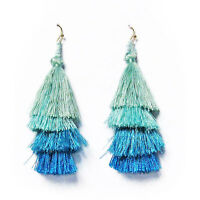 Shimmering 4 Tier Multi Color Blue Fringe Drop Statement Earrings