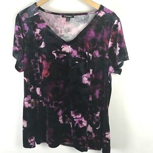 b10a3528f2dc9e Details about Roz   Ali Top Dark Floral Velvet 1X Plus Black Purple V-Neck  Stretch Gothic Plus