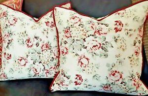 Throw-Pillows-Vintage-Ralph-Lauren-Linen-Cotton-Fabric-English-Floral-A-Pair