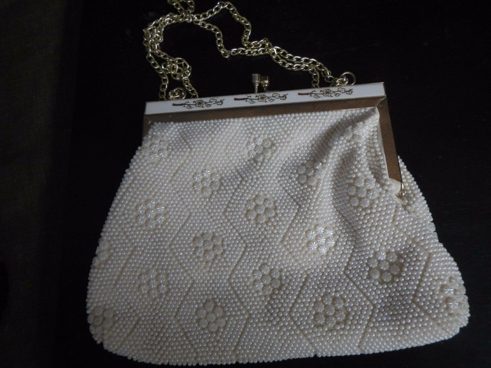 Small Vintage White Floral Pattern Beaded Purse, inlaid frame, chain strap, EUC