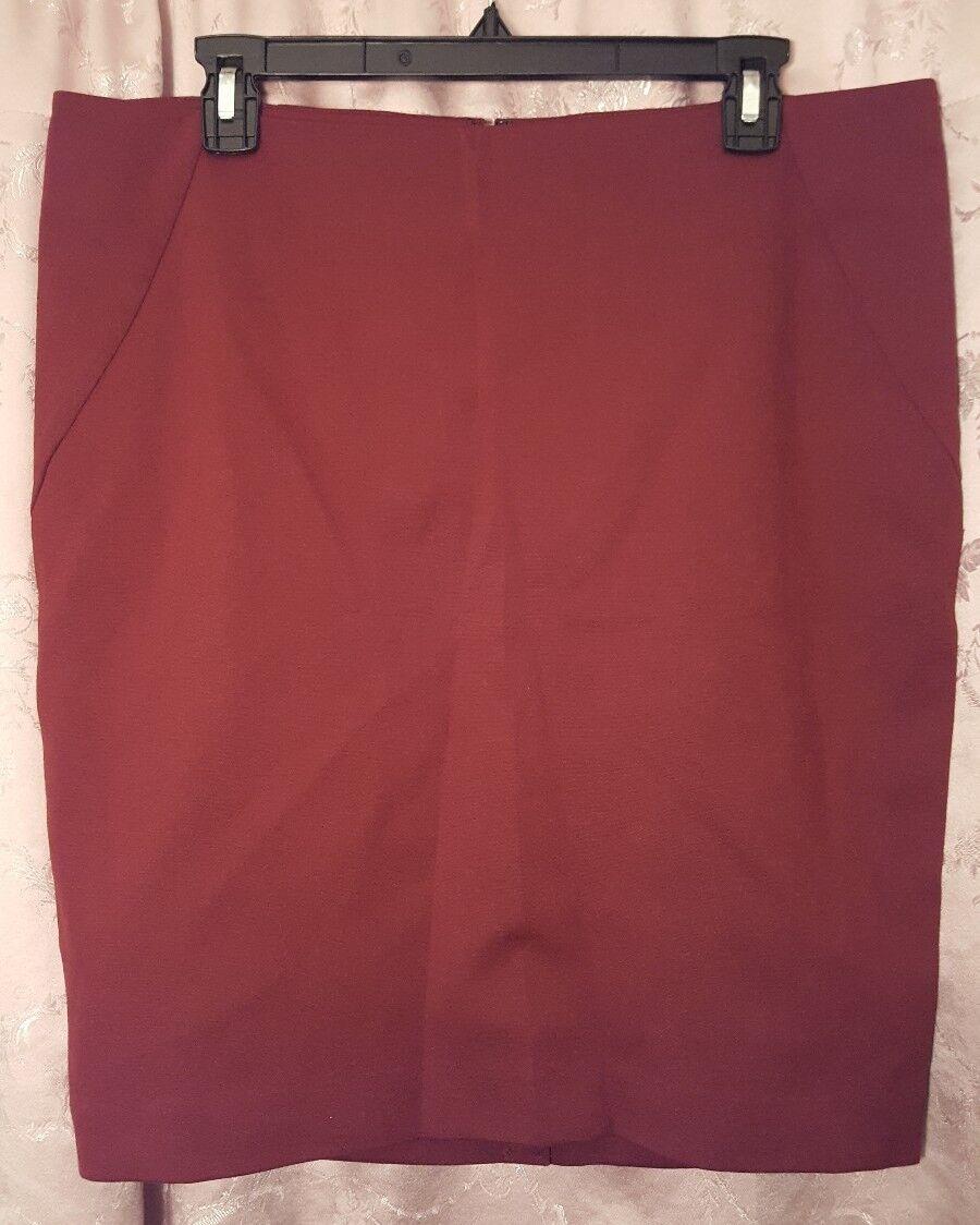 INC new women stylish Skirt dark red straight 10 12 14 L XL stretchy