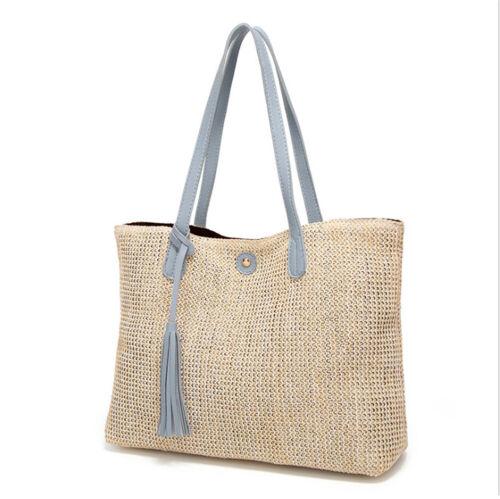 Women Summer Beach Rattan Straw Shoulder Bags Handbag Crossbody Bag