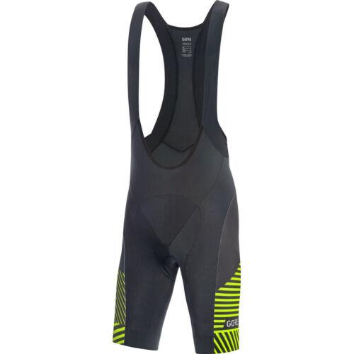 GORE WEAR C3 Bib Shorts Men black//citrus green 2019 Träger-Hose schwarz grün