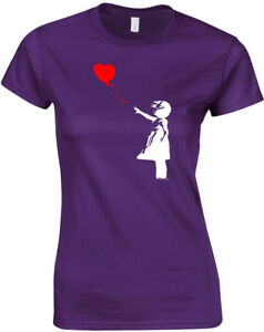Banksy-Heart-Balloon-Ladies-Printed-T-Shirt-Short-Sleeve-Women-Tee-Shirts-Top